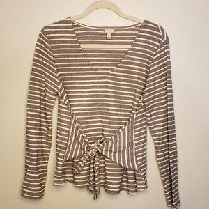 Striped Tie Waist Front 3/4 Sleeve V-Neck Top
